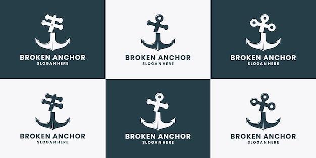 Bündeln sie gebrochene ankerlogo-designvektorsammlung nautische marine