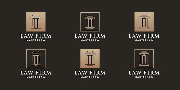 Bündeln sie gerechtigkeit, anwaltskanzlei logo-design-sammlungen
