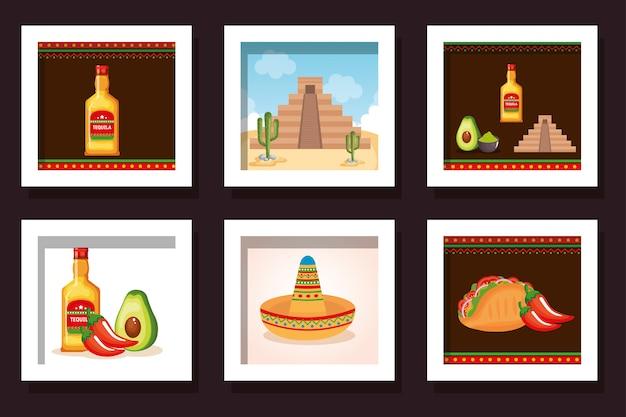 Bündeln sie lebensmittel mit den traditionellen ikonen mexiko