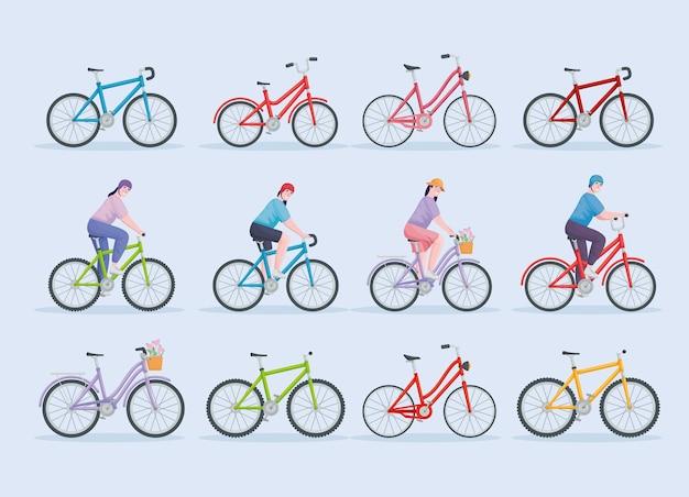 Bündeln sie leute, die fahrrad fahren Premium Vektoren