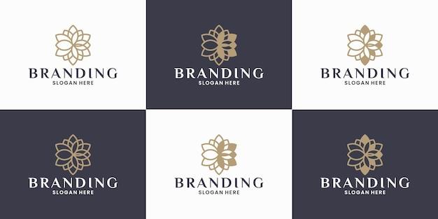 Bündeln sie lotus ornament blumen-logo-design für spa