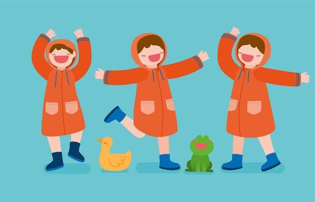 Bündeln sie mit glücklichen mädchen, die regenmantel und stiefel mit ente und frosch tragen, zeichnung in zeichentrickfigur