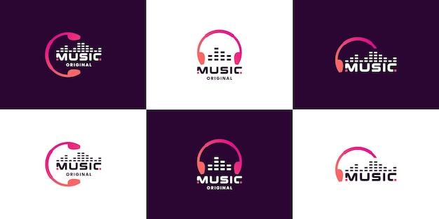 Bündeln sie musik, equalizer, kopfhörer-logo-design für technologieunternehmen und studio