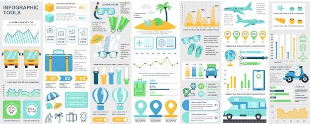 Bündeln sie reise-infografik ui, ux, kit-elemente mit diagrammen, diagrammen, sommerferien, flussdiagramm, reisezeitleiste, reise-symbol-elementvorlage. infografiken eingestellt.