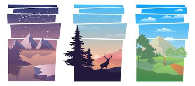 Bündeln sie schöne landschaften. moderne schöne landschaft mit steigungen
