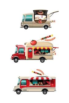 Bündelsatz der seitenansicht des imbisswagens mit grillzähler, bar-bq und modell oben auf auto, auf weißem hintergrund, illustration