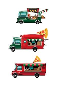 Bündelsatz der seitenansicht des imbisswagens mit pizzazähler, pizza und modell oben auf auto, auf weißem hintergrund, illustration