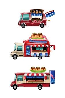 Bündelsatz des imbisswagens mit japanischem snack des takoyaki-geschäfts mit und modell oben auf auto, flache illustration des zeichenstils auf weißem hintergrund
