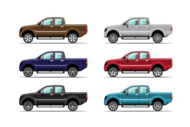 Bündelsatz des mehrfarben-pickups auf weißem hintergrund