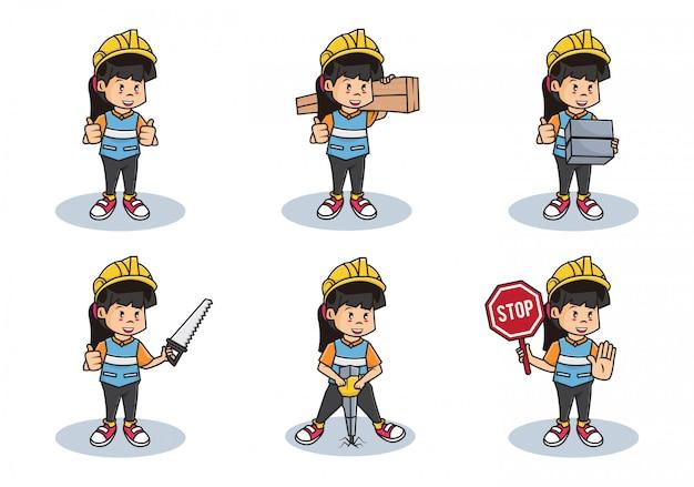 Bündelsatzillustration der fraubauarbeitersammlung oder des professionellen sicherheitsmädchencharakters mit verschiedenen aktivitäten.