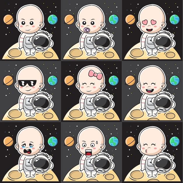 Bündelsatzillustration des niedlichen babyastronautencharakters mit unterschiedlichem ausdruck