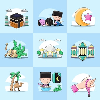 Bündelsatzillustration des ramadan-element-symbols