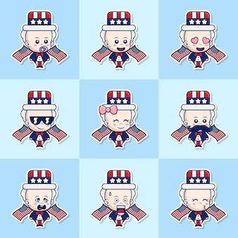 Bündelsatzillustration von niedlichen baby-uncle-sam-aufklebern mit unterschiedlichem ausdruck