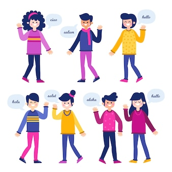 Bürger, die in verschiedenen sprachen sprechen