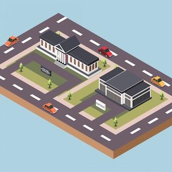 Bürgermeisteramt und ein gerichtsgebäude in einer stadt