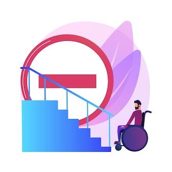 Bürgersteig für behinderte menschen. fehlende bedingungen für menschen mit behinderungen. behinderte frau im rollstuhl. barrierefreie umgebung, zugänglichkeit.