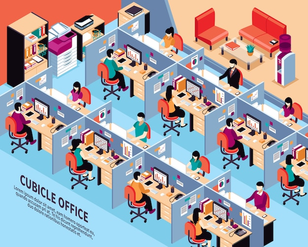Büro-arbeitsplatz-isometrische vektor-illustration