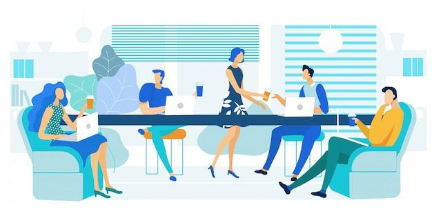 Büro-cafeteria, mittagessen-zonen-illustration