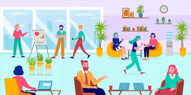 Büro coworking arbeitsplatz, illustration. personengruppenarbeit am schreibtisch, platz für mitarbeiterteamcharakter. kreative frau mann kollege mit computer, cartoon corporate interieur.