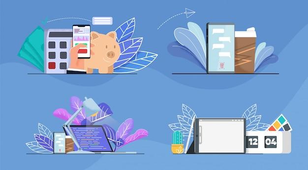 Büro, finanzanalyse und zeitmanagement-set