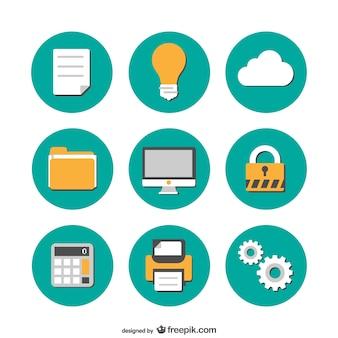 Büro-flach icons kostenlose sammlung