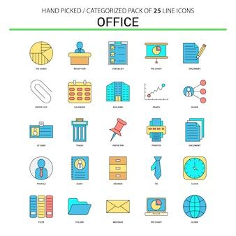 Büro flache linie icon set