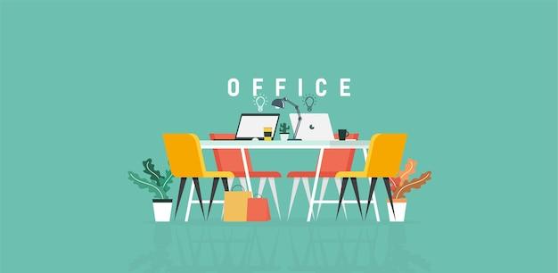 Büro für lern- und lehrarbeit in der gesellschaft von geschäftsleuten, die unter verwendung der vektorillustration des programmdesigns arbeiten