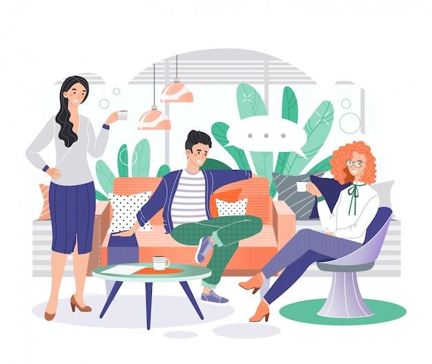 Büro geschäftsfiguren illustration, karikatur lächelnde geschäftsleute treffen sich in gemütlichen coworking interieur auf weiß