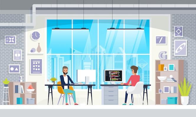 Büro interieur menschen im kreativen modernen arbeitsplatz interieur