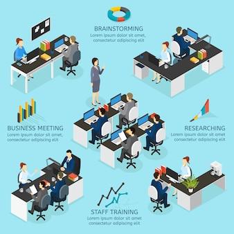 Büro isometrische infografiken