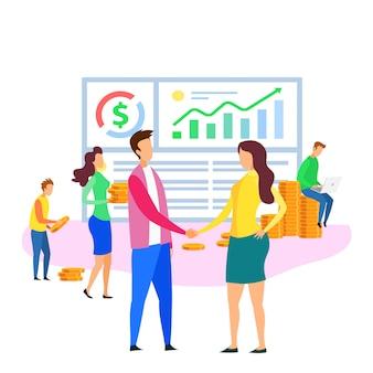 Büro-karikatur-leute-team analysys-finanzdaten