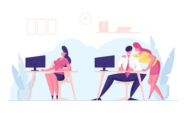 Büro-leute klatschen und diskutieren kollegin, die in der nähe auf dem schreibtisch sitzt