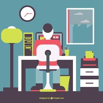 Büro-mann arbeiten, flach illustration