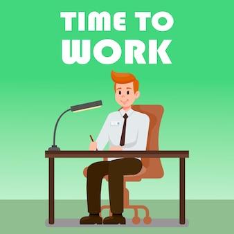 Büro-mann, der am schreibtisch-vektor-illustration sitzt