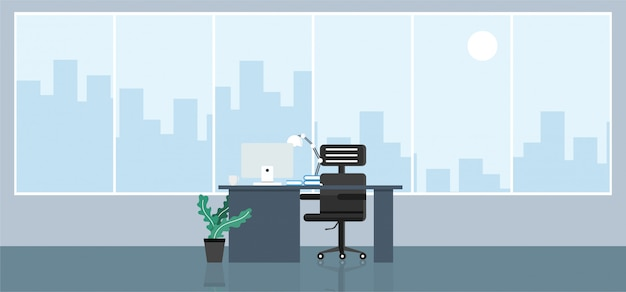 Büro mit großem fenster im flachen stil