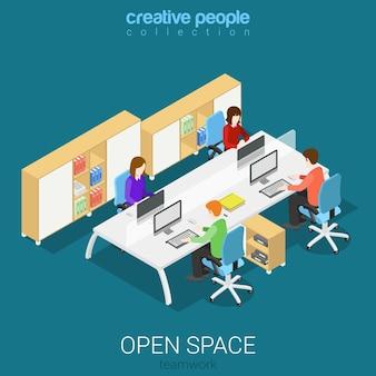 Büro open space room arbeitsplätze flach isometrisch