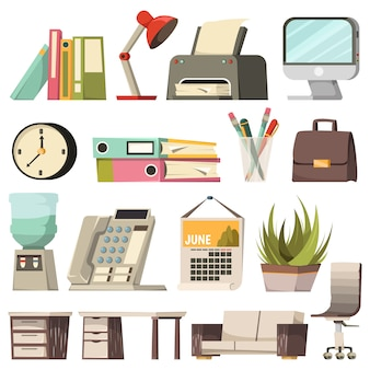 Büro orthogonale icon set