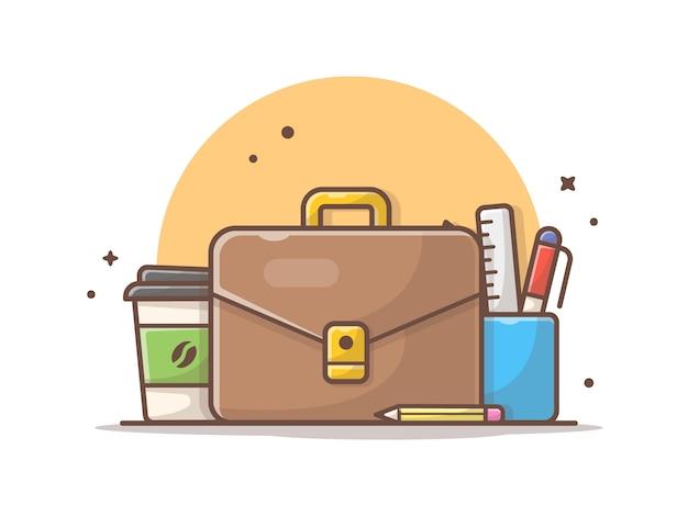 Büro-tasche mit kaffee-und briefpapier-vektor-illustration