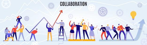 Büro-teamwork-konzept mit menschen, die flach horizontal zusammenarbeiten