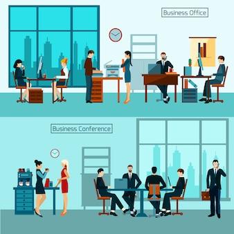 Büroangestellt-fahnen-set