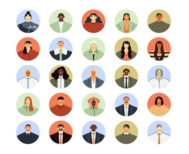 Büroangestellte avatare. runde geschäftsleute und frauenporträts, professioneller arbeiter-avatar und flache illustrationsmenge der angestelltenleute. social media foto icons pack für junge leute