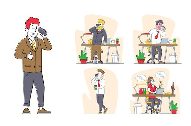 Büroangestellte charaktere, die mit smartphones im büro mit schreibtisch und pc sprechen