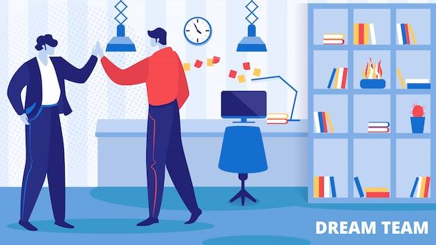 Büroangestellte charaktere freuen sich über neues projekt