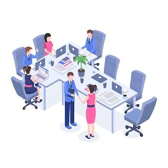 Büroangestellte, chef und angestellte an den zeichentrickfilm-figuren des arbeitsplatzes 3d.