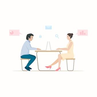Büroangestellte, die am schreibtisch, flacher charakter sitzen.