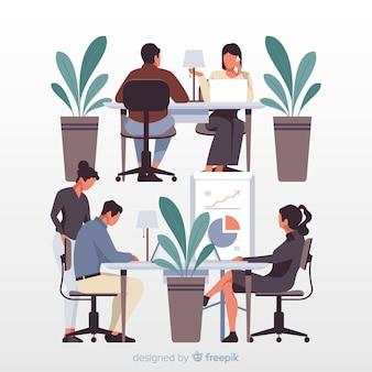 Büroangestellte, die an der schreibtischillustration sitzen
