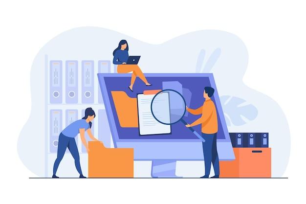 Büroangestellte, die die datenspeicherung und das dateiarchiv auf dem server oder computer organisieren. karikaturillustration