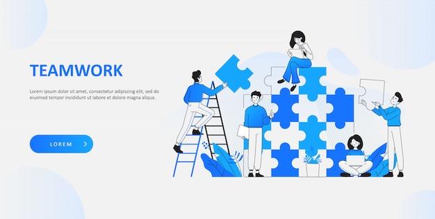 Büroangestellte, die puzzleteile verbinden