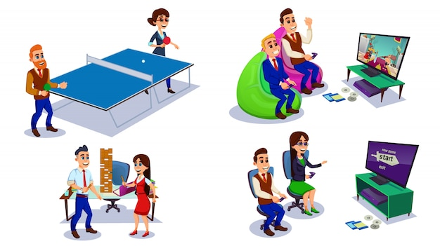 Büroangestellte, die spaß haben, kollegen, die spiel spielen