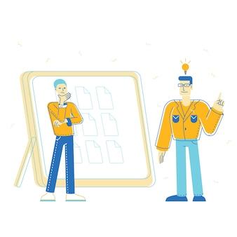 Büroangestellte entwickeln kreative ideen stand